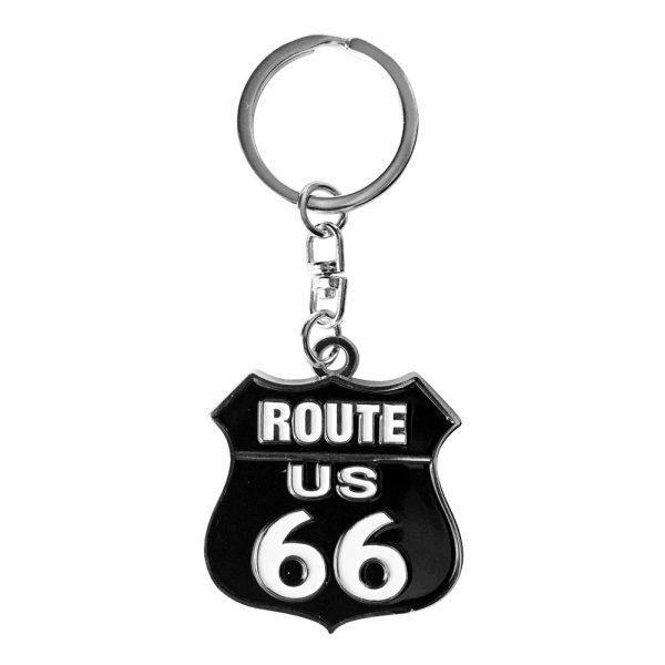 Route 66 Black Shield Key Chain
